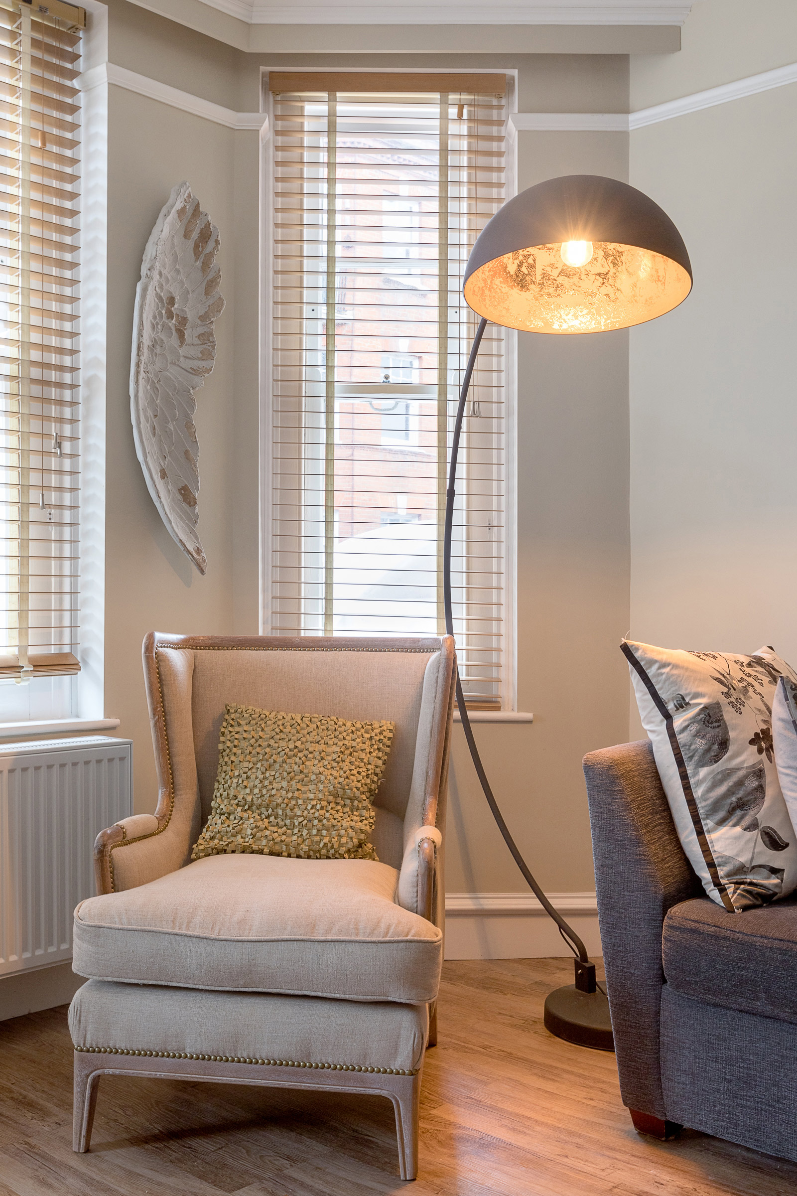 Living room, armchair lamp