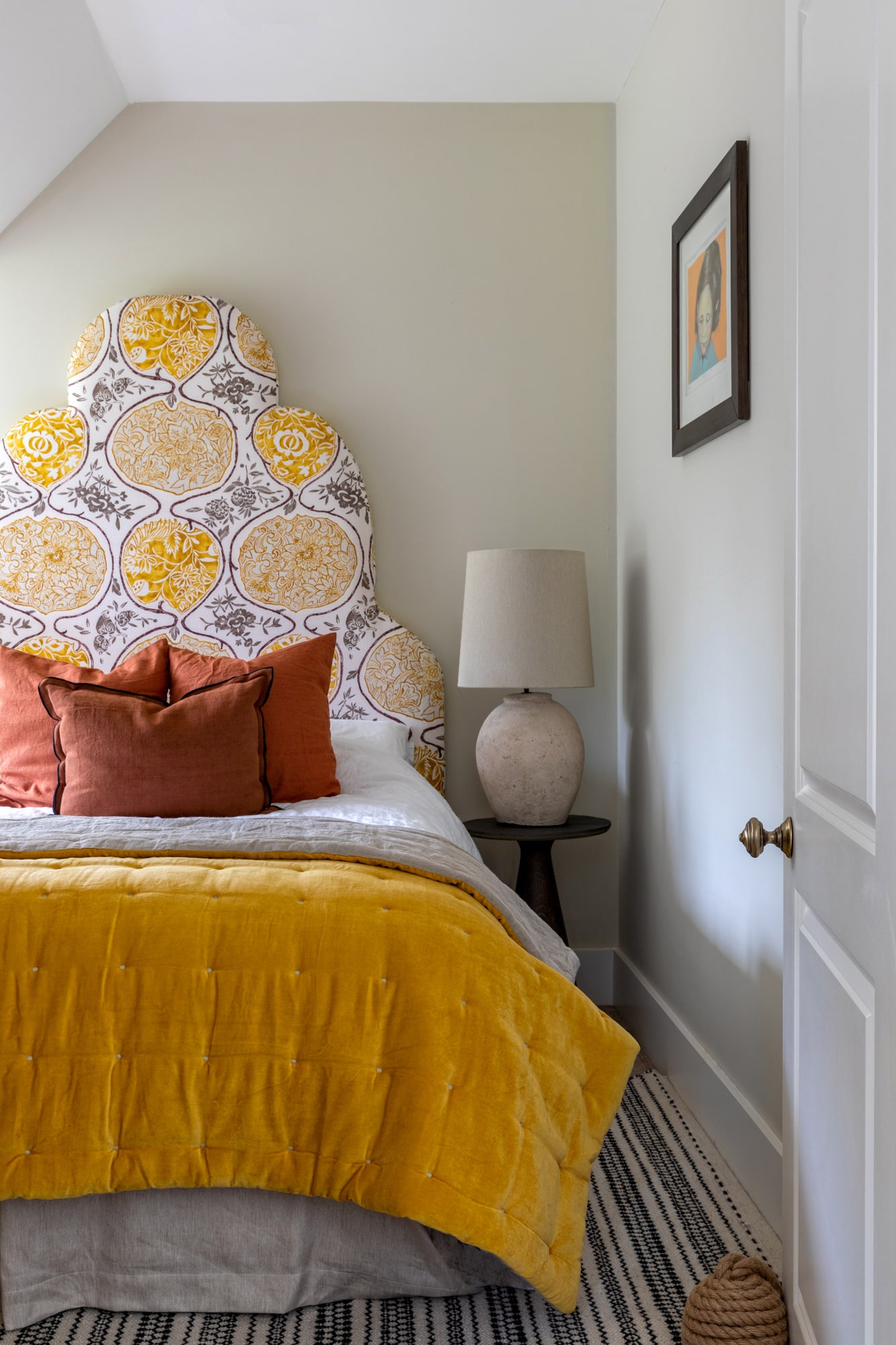 Interior photography: bedroom in yellow and terracotta colors