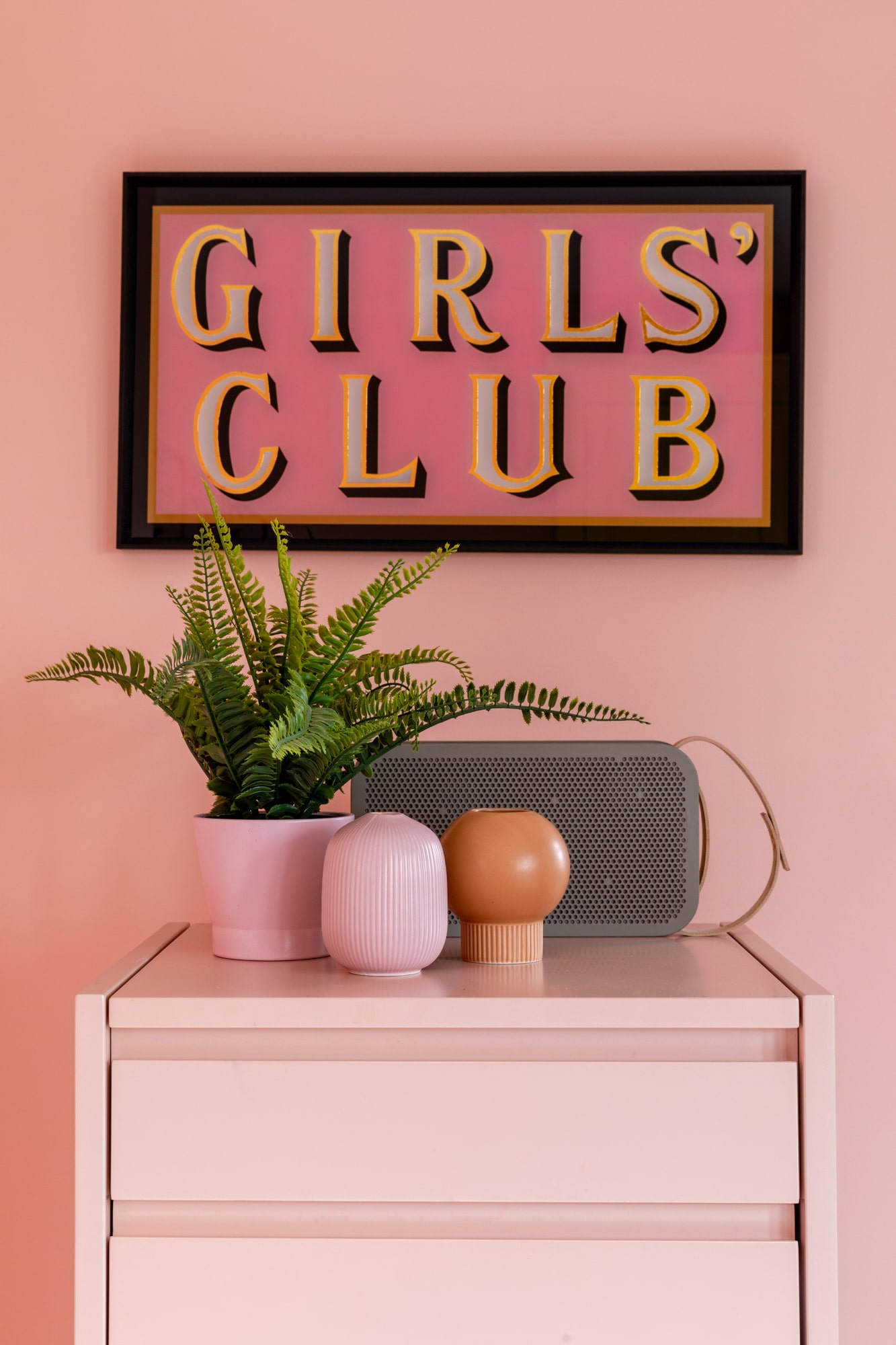 Interior detail photo: girl's pink bedroom; pink chest of drawers with plants and speaker on top; poster with sign