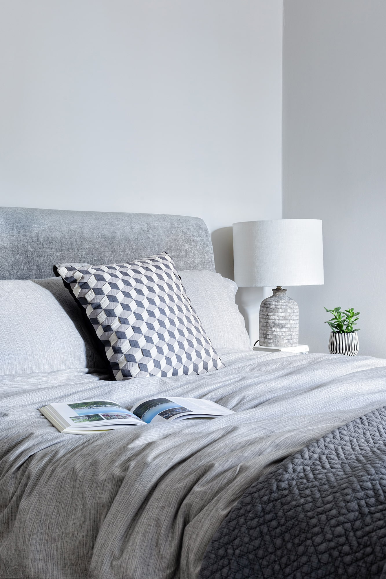 detail interior shot: grey walls, grey velvet bed; white lamp and plant on the bedside table