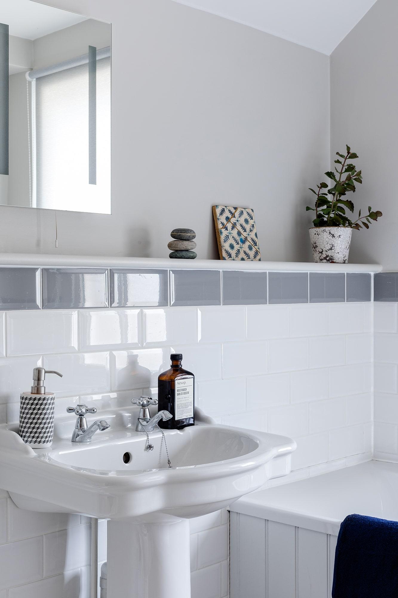 bathroom design detail; sink with accessories